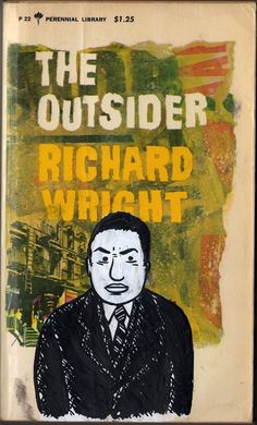 """Richard Wright Gouache and Ink Portrait on Vintage Paperback """"The Outsider"""" (by familystyle)"""
