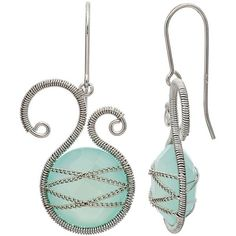 Chalcedony Sterling Silver Scrollwork & Chain-Wrapped Drop Earrings... ($150) ❤ liked on Polyvore featuring jewelry, earrings, purple, sterling silver drop earrings, purple jewelry, chalcedony drop earrings, purple earrings and bezel earrings