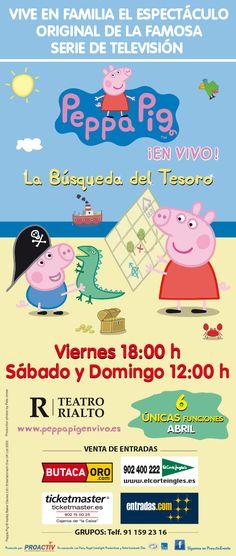 Sorteo de entradas para peppa pig en Madrid http://madridaldia.es/peppa-pig-busqueda-del-tesoro-en-la-gran-via-de-madrid/