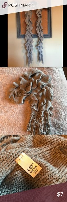 Like 🆕 Cato | Ruffle Scarf | Grey This is a ruffled grey scarf that has elastic strips which make it very bouncy and comfortable. Cato Accessories Scarves & Wraps