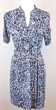 Carole Little Womens Dress Belted Stretchy Short Sleeve V Neck Leopard Print #CaroleLittle #ShirtDress #Any