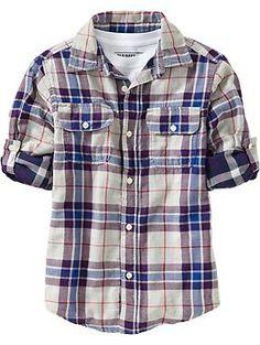 Boys Double Weave Plaid Shirts