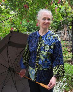 Jane Sassaman's Idea Book: Garden Divas in the Rain Fashion Art, Vintage Fashion, Fashion Design, Vintage Style, Textiles, Sweatshirt Makeover, Funky Outfits, Art Textile, Jacket Pattern