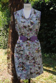 Cotton dress,mauve purple,pink and green 1950