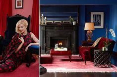 love the red-burgundy velvet couch against the blue walls  ...and the pretty blue velvet wingback chair she's leaning against