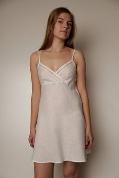 Pure Linen Short Night Gown/Slip Laced by LGlinen on Etsy, $50.00. also does custom. i think we have a winner.