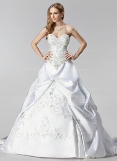 Wedding Dresses - $426.99 - Ball-Gown Sweetheart Chapel Train Satin Wedding Dress With Embroidery Ruffle Beadwork (002000485) http://jenjenhouse.com/Ball-Gown-Sweetheart-Chapel-Train-Satin-Wedding-Dress-With-Embroidery-Ruffle-Beadwork-002000485-g485?ver=1