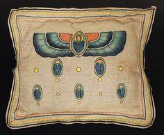 "Arts & Crafts pillow, H. E. Verran Company, Inc., Royal Society, No. 517, ca. 1911, Egyptian winged scarab design, 24"" x 20"""