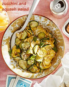 This zucchini and squash salad is perfect for hot summer nights. Just toss with some olive oil, pine nuts, Pecorino Romano, and fresh basil.