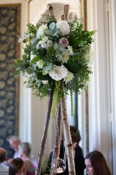 Nice idea for taller table centres.I like the hanging tea light as well. Vintage Wedding Centerpieces, Garden Wedding Decorations, Marquee Wedding, Rustic Wedding, Wedding Ideas, Hanging Tea Lights, Church Wedding Flowers, Large Flower Arrangements, Arches