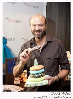Scott Adsit with our stacking ring toy littlefreeradical.etsy.com