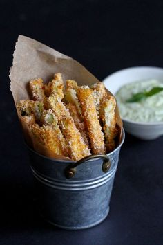 ~ Baked Zucchini Fries with Pesto Yogurt Dipping Sauce ~