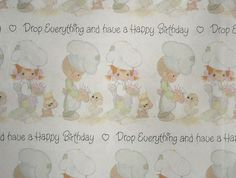 Vintage Precious Moments Birthday Gift Wrap by LongSince on Etsy, $12.99