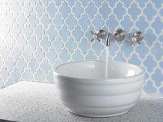 Uniquely Shaped Tile bathroom Backsplash Choosing a Stylish Bathroom Backsplash Trend Stylish Bathroom, Moen Faucets, Widespread Bathroom Faucet, Bathroom Faucets, Wall Mount Faucet Bathroom, Bathroom Backsplash, Backsplash, Tile Bathroom, Bathroom Fixtures