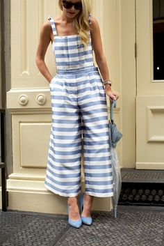 Take a more urban approach to spring with these bold stripes which are casually cropped and cinched at the waist. This pair is best worn with nothing underneath.