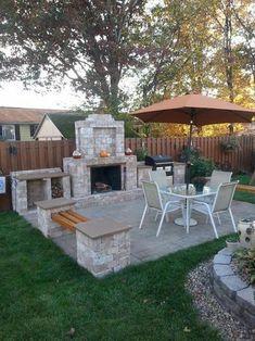 Backyard Ideas Discover Pavestone RumbleStone 84 in. Outdoor Stone Fireplace in Sierra - T Pavestone RumbleStone 84 in. Outdoor Stone Fireplace in Sierra Blend Backyard Patio Designs, Backyard Projects, Backyard Landscaping, Pergola Patio, Landscaping Ideas, Pergola Ideas, Pergola Kits, Cool Backyard Ideas, Gazebo