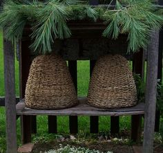 Woven skeps.... Like the ones I sell....would have been covered with a mud straw mixture.