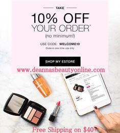 Use Avon Coupon Code WELCOME10 and get 10% off any online Avon order (no minimum!) at www.deannasbeautyonline.com. (one-time use only). #avon #couponcode #beauty