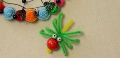 How to Make a Green Chenille Stick Spider Craft for Halloween Decoration