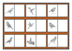 Board for the black/white and color bird matching game. Find the belonging tiles on Autismespektrum on Pinterest. By Autismespektrum