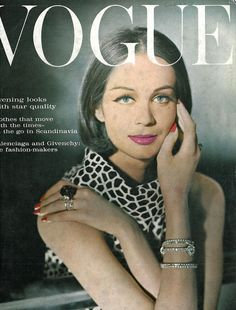 Vogue October 1962. Fur treated in a new exciting way: white calf patterned with giraffe spots for a sleeveless sweater. By Maggie Shepherd at Woollands (58 gns.). Centre-parted, shining hair by Raphael & Leonard. Make-up by Coty. Single-stone diamond rings, Jaeger-Le Coultee watch, diamond necklace here worn as a bracelet, all by Kutchinsky. Jet ring at Paris House. Photograph by Henry Clarke
