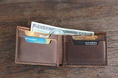 Men's Leather Wallet Minimalist Bifold Groomsmen by JooJoobs