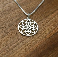 Mandala pendant necklace in sterling silver by jersey608jewelry
