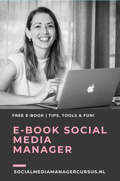 Social Media Manager worden? Wil jij je ontwikkelen tot Social Media Manager? Of doe jij al veel met Social Media maar wil je er meer over leren? Het beroep 'Social Media Manager' is erg breed en een relatief jong, nieuw beroep. Het is in de praktijk ook erg divers. In het E-Book lees je meer over tools, tutorials maar ook over wat de taken (kunnen) zijn van een Social Media Manager. Download het gratis e-book en let's get inspired! #SocialMediaManager #EbookSocialMedia #SMM #SocialMedia Social Media Company, Management, Books, Libros, Book, Book Illustrations, Libri