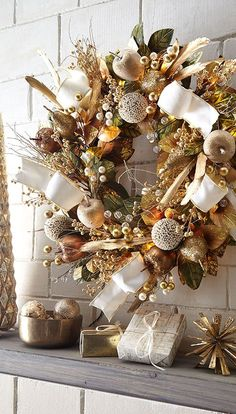Shop Glimmer & Gold Prelit Wreath, at Horchow, where you'll find new lower shipping on hundreds of home furnishings and gifts. Pre Lit Wreath, Christmas Wreaths With Lights, Gold Christmas Ornaments, Christmas Decorations For The Home, Christmas Home, Christmas Tree Decorations, Christmas Holidays, Christmas Crafts, Holiday Decor
