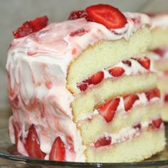 . Vanilla Cake with Strawberry Cream Frosting Recipe from Grandmothers Kitchen.