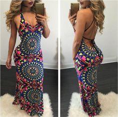 Fashion Sexy Backless Printing Dress