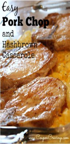 5 bonein pork chops 1 T oil 1 c sour cream 10 34 oz can cream of chicken condensed soup 12 c milk 32 oz pkg frozen hashbrowns 1 c onion chopped 1 c shredded c. Pork Chop Casserole, Hashbrown Casserole Recipe, Dinner Casserole Recipes, Hash Brown Casserole, Potato Casserole, Breakfast Casserole, Pork Chop Potato Bake Recipe, Zuchinni Casserole, Pierogi Casserole