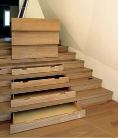 Brilliant!  Storage under steps of actual stairs.