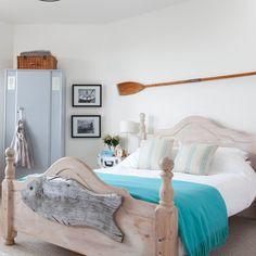 Bedroom , Fresh Coastal Bedroom Ideas : Coastal Bedroom Ideas With Wooden  Bedroom With Wooden Fish Craft Decor And Blue Comforter And Oar And Wall  Hanging ...