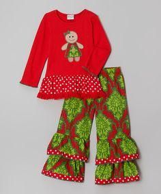 AnnLoren Red & Green Gingerbread Tunic & Pants - Infant, Toddler & Girls | zulily