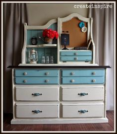 This dresser and hutch was on my local classifieds page. I must admit, the only reason I bought it is because I have nothing left and I wa. White Painted Furniture, Chalk Paint Furniture, Furniture Projects, Diy Furniture, Pine Dresser, Bedroom Furniture Makeover, Bedroom Ideas, Repurposed Furniture, Furniture Inspiration