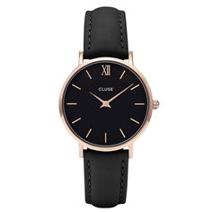 Cluse Minuit Rose Gold Black Damen-Armbanduhr