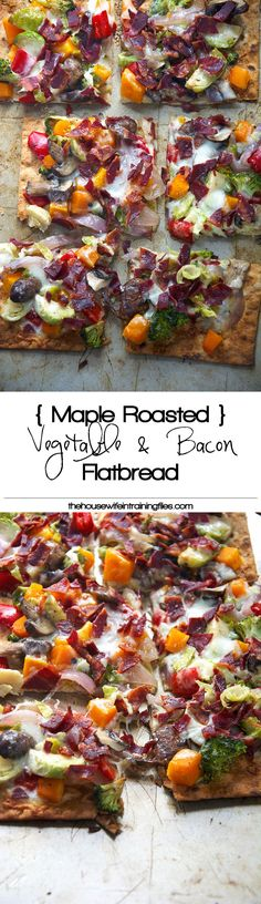 Thin and crispy lavash is used as the base for this flatbread, and topped with autumn, maple roasted veggies and topped with bacon and creamy fontina for flatbread that will please anyone! #flatbread #pizza #appetizer
