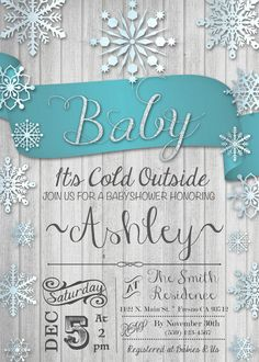Baby It's Cold Outside Baby Shower Invitation Invite Winter Wonderland Snowflake Rustic