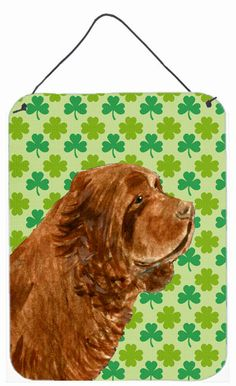 Sussex Spaniel St. Patrick's Day Shamrock Portrait Wall or Door Hanging Prints
