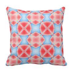 Fractal Kaleidoscope in Red & Blue #1 Throw Pillow - pattern sample design template diy cyo customize