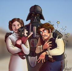 """LOL this is an amazing family portrait of the Solo/Skywalker gang- look at Lil' Ben! """"GRANDPA!!"""""""