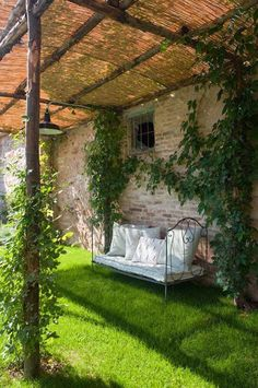 A pergola is a great way to enjoy outdoor spaces, and we found some pergola designs with roof so that you can enjoy yours all year round. Outdoor Rooms, Outdoor Gardens, Outdoor Living, Outdoor Decor, Outdoor Seating, Garden Seating, Outdoor Cafe, Garden Chairs, Gazebos