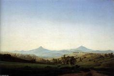 'Bohemian Landscape with Mount Milleschauer', Oil On Canvas by Caspar David Friedrich (1774-1840, Germany)