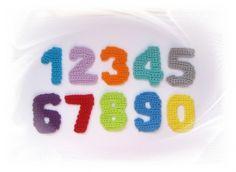 gehäkelte Zahlen 5 cm, Häkelapplikationen