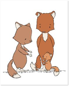 Woodland Nursery Art - Foxes Family of Three - Fox Nursery Art