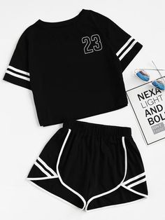 Shop Crop Varsity T-shirt And Contrast Binding Notch Shorts Set online. SheIn offers Crop Varsity T-shirt And Contrast Binding Notch Shorts Set & more to fit your fashionable needs. Outfits For Teens, Trendy Outfits, Cool Outfits, Summer Outfits, Summer Dresses, Teen Fashion, Korean Fashion, Fashion Outfits, Womens Fashion