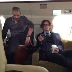 Criminal Minds Instagram: Shemar and Matthew chilling on the plane #heartthrobs #criminalminds