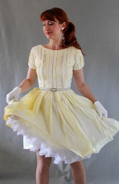 New! Fresh And Lovey In Pale Yellow!  Sale 1950s Dress Pale Yellow Pastel Fashion Lace by gogovintage, $72.00