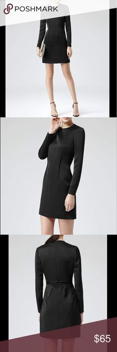 """NWT Reiss Black Taylee Dress UK Size 8 👗New with tags! Reiss Women's Black Taylee Exposed Seam Sheath Dress. Size 8. Made in Bulgaria. Excellent quality! Exposed back seam detail. Fully lined. Zippers on each sleeve. Concealed side and partial back zip closure. Materials: 94% Polyester, 6%Elastane. Measurements: CHEST 18,5"""" ARM LENGTH 30"""" CUFF OPENING 3,8"""" TOTAL LENGTH 35,2"""" There's very tiny pilling under one of the arms, it's not noticeable since it's covered all the time (See last pic!)…"""